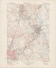 Attleboro, MA 1943-1950 Original USGS Old Topo Map 7x7 Quad 31680 - MA-141