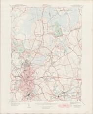 Taunton, MA 1944-1949 Original USGS Old Topo Map 7x7 Quad 31680 - MA-143