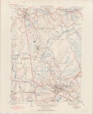 Bridgewater, MA 1940-1950 Original USGS Old Topo Map 7x7 Quad 31680 - MA-144