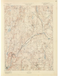 Barre, MA 1890 USGS Old Topo Map 15x15 Quad RSY