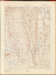 Belchertown, MA 1890 USGS Old Topo Map 15x15 Quad RSY