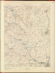 Blackstone, MA 1890 USGS Old Topo Map 15x15 Quad RSY