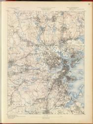 Boston, MA 1890 USGS Old Topo Map 15x15 Quad RSY