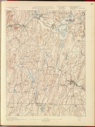 Brookfield, MA 1890 USGS Old Topo Map 15x15 Quad RSY