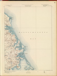 Duxbury, MA 1890 USGS Old Topo Map 15x15 Quad RSY