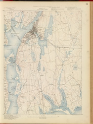 Fall River, MA 1890 USGS Old Topo Map 15x15 Quad RSY