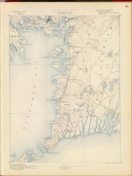 Falmouth, MA 1890 USGS Old Topo Map 15x15 Quad RSY