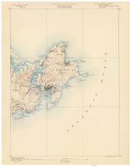 Gloucester, MA 1890 USGS Old Topo Map 15x15 Quad RSY