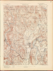 Greenfield, MA 1890 USGS Old Topo Map 15x15 Quad RSY