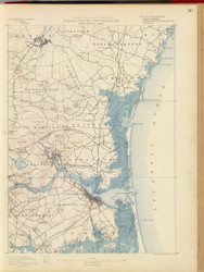Newburyport, MA 1890 USGS Old Topo Map 15x15 Quad RSY