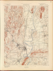 Northampton, MA 1890 USGS Old Topo Map 15x15 Quad RSY