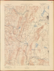 Pittsfield, MA 1890 USGS Old Topo Map 15x15 Quad RSY