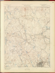 Worcester, MA 1890 USGS Old Topo Map 15x15 Quad RSY