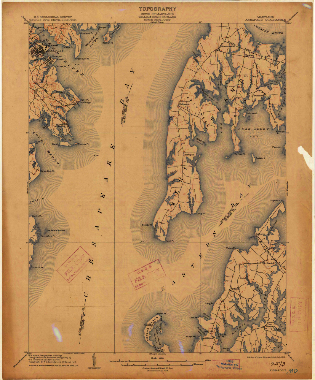 Annapolis, Maryland 1904 (1913) USGS Old Topo Map 15x15 Quad