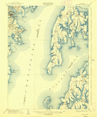 Annapolis, Maryland 1904 (1938) USGS Old Topo Map 15x15 Quad
