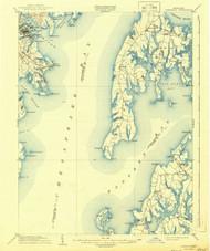 Annapolis, Maryland 1904 (1944) USGS Old Topo Map 15x15 Quad