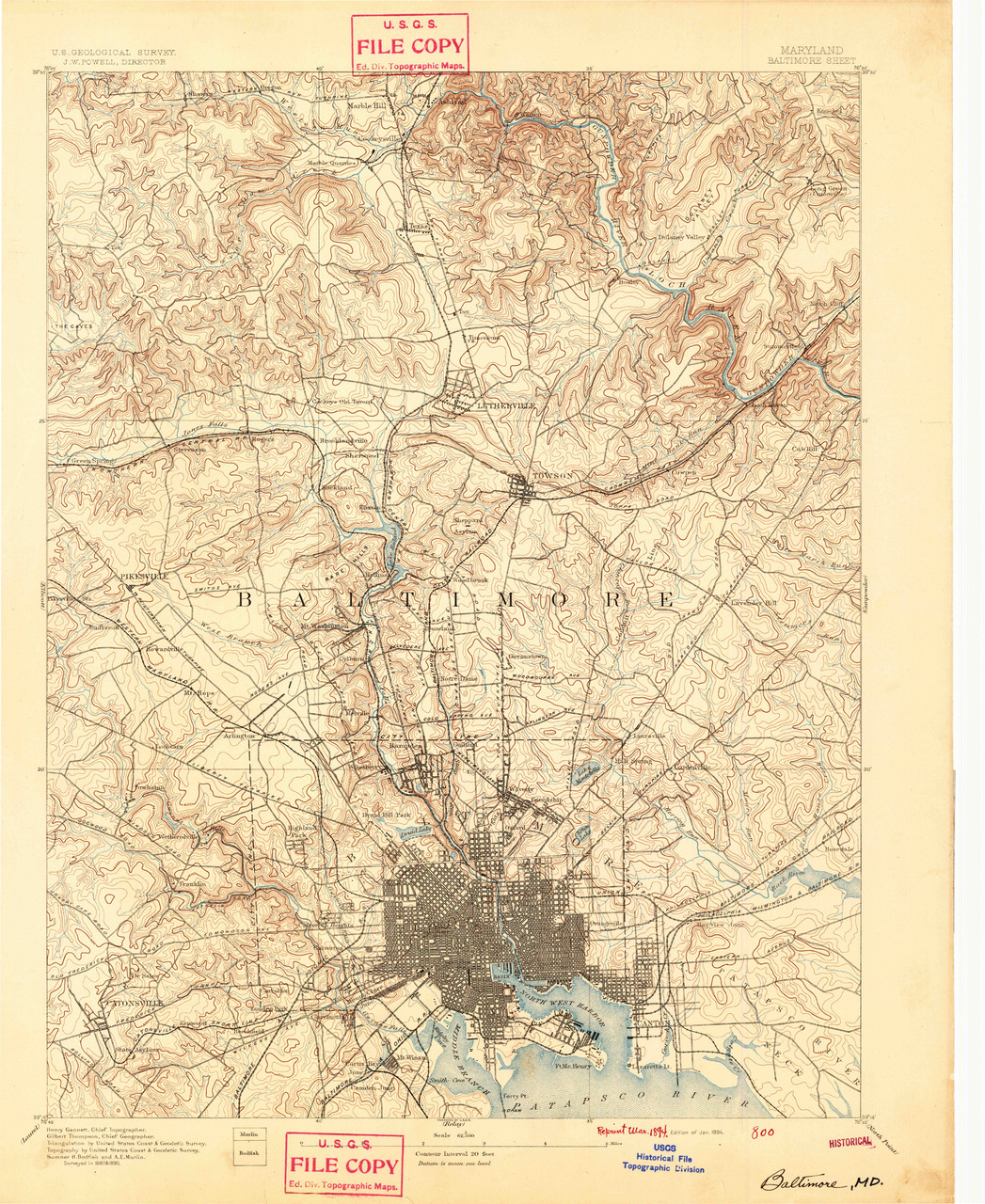 Baltimore, Maryland 1894 (1894a) USGS Old Topo Map 15x15 Quad on