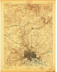 Baltimore, Maryland 1894 (1897) USGS Old Topo Map 15x15 Quad