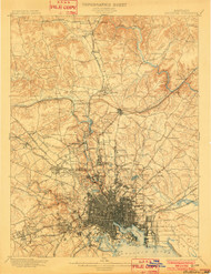 Baltimore, Maryland 1899 (1902) USGS Old Topo Map 15x15 Quad