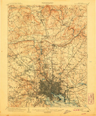Baltimore, Maryland 1904 (1907) USGS Old Topo Map 15x15 Quad