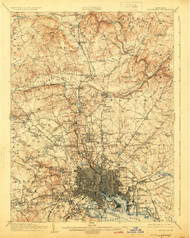 Baltimore, Maryland 1904 (1924) USGS Old Topo Map 15x15 Quad