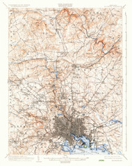 Baltimore, Maryland 1904 (1936) USGS Old Topo Map 15x15 Quad