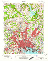 Baltimore, Maryland 1943 (1963a) USGS Old Topo Map 15x15 Quad
