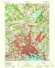 Baltimore, Maryland 1943 (1965) USGS Old Topo Map 15x15 Quad