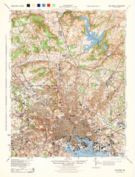 Baltimore, Maryland 1944 (1944) USGS Old Topo Map 15x15 Quad