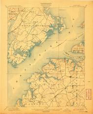 Betterton, Maryland 1900 (1907) USGS Old Topo Map 15x15 Quad