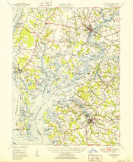 Chestertown, Maryland 1951 (1951b) USGS Old Topo Map 15x15 Quad
