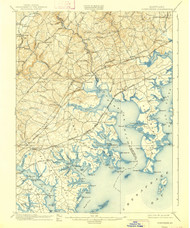 Gunpowder, Maryland 1901 (1939) USGS Old Topo Map 15x15 Quad