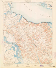 Montross, Maryland 1892 (1914) USGS Old Topo Map 15x15 Quad