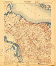 Montross, Maryland 1892 (1920) USGS Old Topo Map 15x15 Quad