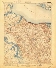 Montross, Maryland 1892 (1930) USGS Old Topo Map 15x15 Quad
