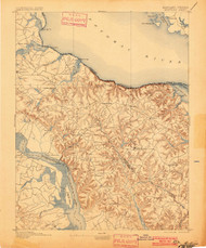 Montross, Maryland 1895 (1901) USGS Old Topo Map 15x15 Quad