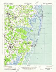 Ocean City, Maryland 1942 (1942) USGS Old Topo Map 15x15 Quad