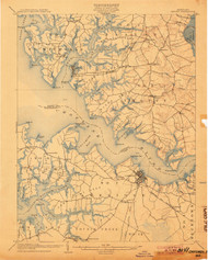 Oxford, Maryland 1904 (1904) USGS Old Topo Map 15x15 Quad