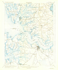 Oxford, Maryland 1904 (1927) USGS Old Topo Map 15x15 Quad
