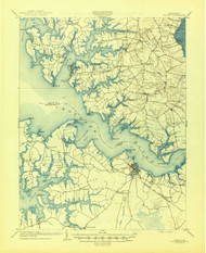 Oxford, Maryland 1904 (1945) USGS Old Topo Map 15x15 Quad