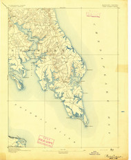 Pooint Lookout, Maryland 1894 (1894) USGS Old Topo Map 15x15 Quad