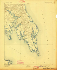 Pooint Lookout, Maryland 1894 (1898) USGS Old Topo Map 15x15 Quad