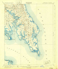 Pooint Lookout, Maryland 1912 (1932) USGS Old Topo Map 15x15 Quad