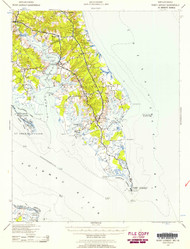 Pooint Lookout, Maryland 1937 (1958) USGS Old Topo Map 15x15 Quad