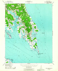 Pooint Lookout, Maryland 1937 (1963) USGS Old Topo Map 15x15 Quad