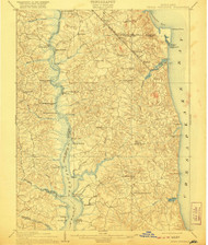 Prince Frederick, Maryland 1910 (1921) USGS Old Topo Map 15x15 Quad