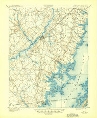 Snow Hill, Maryland 1901 (1944) USGS Old Topo Map 15x15 Quad