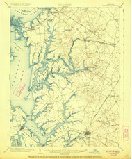 St Michaels, Maryland 1904 (1923) USGS Old Topo Map 15x15 Quad