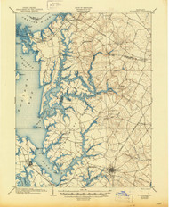 St Michaels, Maryland 1904 (1945) USGS Old Topo Map 15x15 Quad