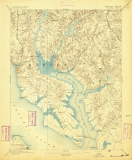 Wicomico, Maryland 1894 (1894) USGS Old Topo Map 15x15 Quad